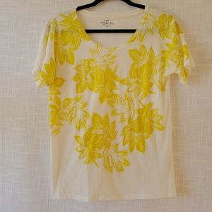 J Crew Collector Tee Womens Sz M Yellow and White